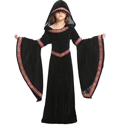 Mittelalterlichen Muster Kostüm Mädchen - ASDF Mittelalterliches Kostüm Halloween Mädchen COS Kleidung schwarz Taille Muster Kinderbekleidung