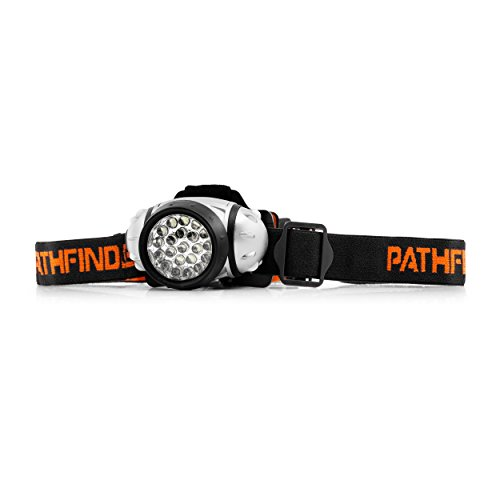 PATHFINDER 21 LED Headlamp Headlight – Lightweight, Comfortable and Weatherproof Flash Light/Torch – Water Resistant Safety Head Lamp – 4 User-Friendly Modes of Operation – Garage Workshop Garden Head lamp, Head Torch for Biking, Cycling, Climbing, Camping, Dog Walking, Hiking, Fishing, Night Reading, Riding, Running and other Outdoor and Indoor Activities – Adjustable Head Strap – 135 Degrees Adjustable Beam Angle – 100,000 Hours LED lifetime (in RETAIL PACKAGING) – SILVER