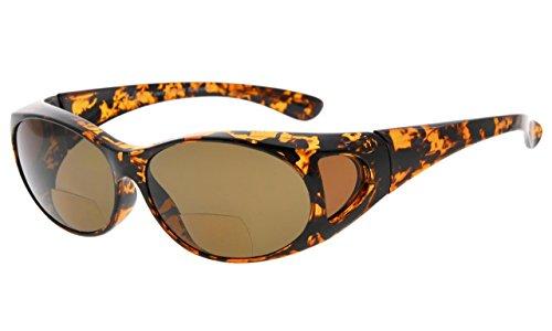Eyepepper polarisierte bifokale Sonnenbrille,zum über Gläsern Polycarbonat polarisierte Linsen Überarbeitungs-Sonnenreader zu tragen (Schildkröte/Braun Linse, 2.00)