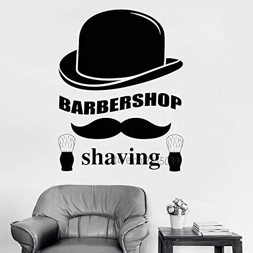 Barbershop Rasage Cheveux Vinyle Decal Stickers Muraux Décor Coupe De Cheveux Unique Art Salon Boutique De Coiffure Signe Stickers Amovible 42x54cm Applique Coupe