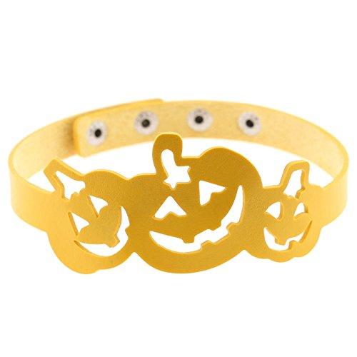 Beydodo Halloween-Party Schmuck Leder Choker-Halskette Damen Kürbis Halsband (Kostüme Julia Halloween Kind)
