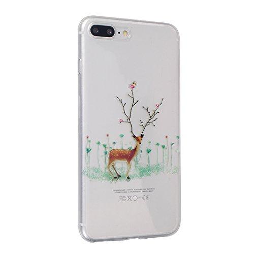 iPhone 7 Plus Hülle Weihnachten, Rosa Schleife iPhone 8 Plus Schutzhülle Ultra Dünn Transparent TPU Silikon Backcover Schale Weihnachten Muster Handyhülle für iPhone 8 Plus / 7 Plus Weihnachtselche