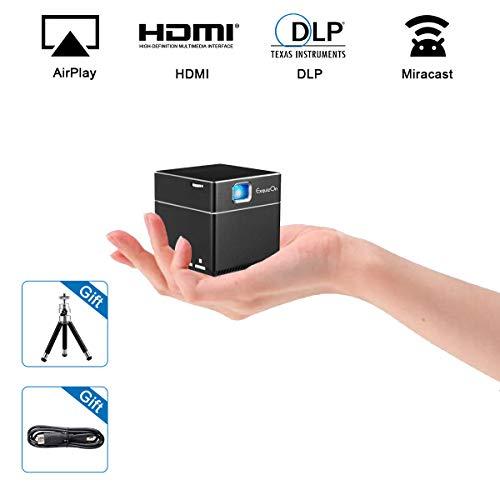 ExquizOn S6 Mini DLP WiFi proiettore Cubo 1080P Supportato Pico Wireless Batteria Integrata Compatibile con Dispositivi HDMI Micro SD Card per la Home Cinema