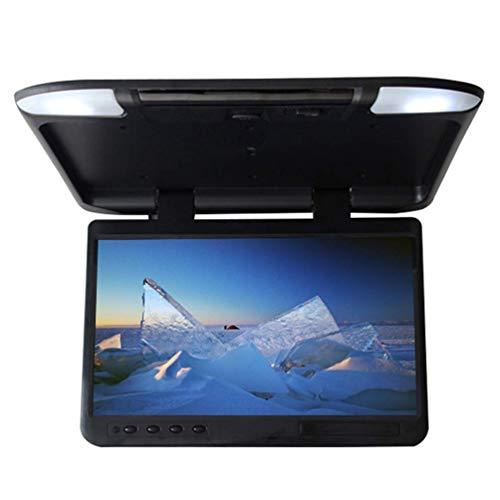 CZWXCD Auto klappen Sie unten Monitor, HDMI 1080P HD TFT LCD 22 Zoll Dachmontage-Monitor Ultra dünner obenliegender Video-Player für Auto SD MP3 MP5 LED mit FM-Transmitter USB ab,Black (22 Zoll Monitor 1080p)