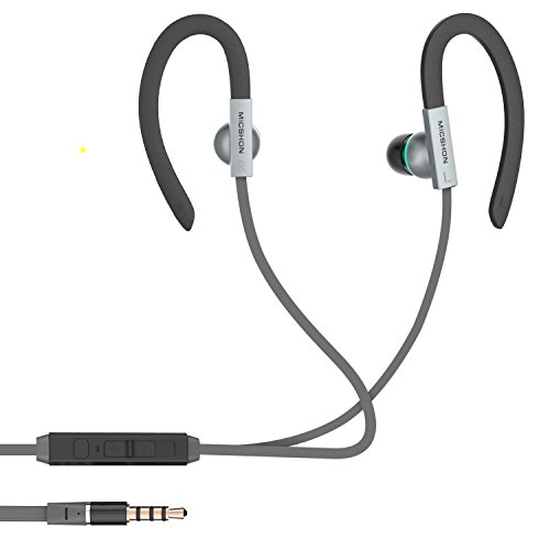 Q-YEE Wired Ohrhörer, Stereo-Bass-Ohrhörer, Ohrbügel-Kopfhörer mit Mikrofon für Apple und Android und mehr (grau)