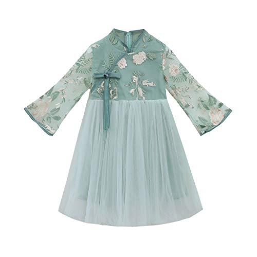 Julhold Teen Kinder Baby Mädchen Süße Mode Elegant Ärmellos Spitze Sticken Grenadine Vintage Kleid Outfits 3-13 Jahre