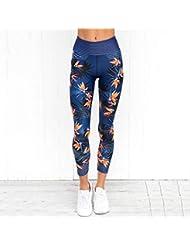 PFJWFE Pantalones de Yoga de Cintura Alta Mujeres Fitness Leggings Deportivos Rayas Imprimir Gimnasio elástico Medias de EntrenamientoPantalones para Correr Tallas Grandes