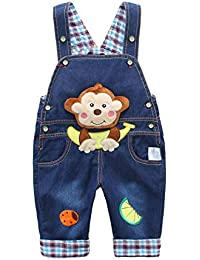 Peto Vaqueros Para Bebé Niños Niñas Azul Largo Lindo Mono Bananes Pantalones Overall Mono