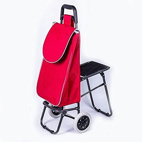 Simple plegable ligero comercial carrito bolsa de compras con ruedas casa viaje rojo 95 * 58 * 35 * 20 cm ,