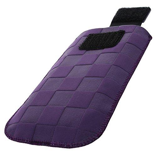 XiRRiX Handytasche mit Ausziehhilfe Size S für Doro PhoneEasy 609 6030 Primo 406 413 414 - Swisstone BBM 625 - Telme X210 - Handy Tasche Violett