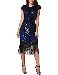 gaddrt 50s Vintage Rockabilly Kleid Partykleider Frauen Kleid Quaste Prom Kleider  Perlen Pailletten Art Nouveau Deco 7eb0db942f