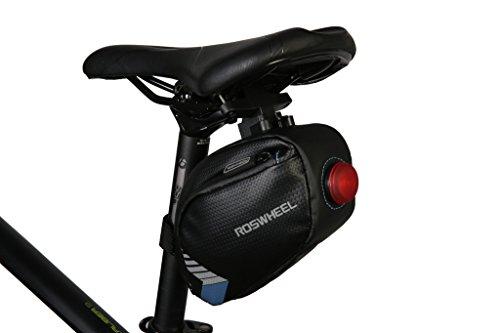 TOFERN Satteltasche Robust Wasserdicht Klettverschluss Mit Reflektorstreifen Fahrradtasche dunkelblau 2