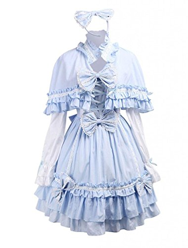 Cemavin Womens Cotton Blue Cape Sweet Lolita Dress