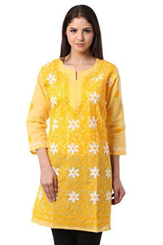 Saadgi Lucknowi Chikankari Aari Embroidered Pure Cotton Double Color Silk Thread Work...