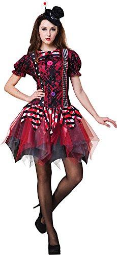 Damen Harlekin Harley Quinn Zirkus Verkleidung Kostümparty Horror -