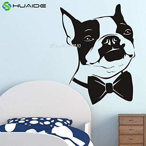 ow Tie Boston Terrier Dog Removable Wall Sticker Home Decoration Living Room Animal Mural Vinyl Decal  large 56X77cm ()