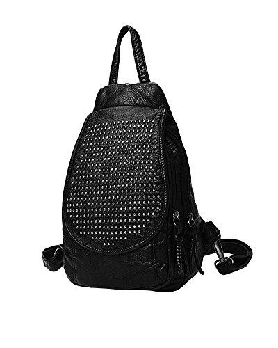 CHENGYANG Casual Femmes en PU Cuir épaule Sac à dos Fashion Bag Sac d'école Style d'université Noir