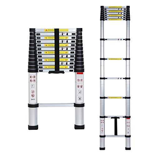 Lifewit Teleskopleiter 3.8m Multifunktionsleiter Ausziehbar Anlegeleiter Leiter Stehleiter Klappleiter aus Aluminium