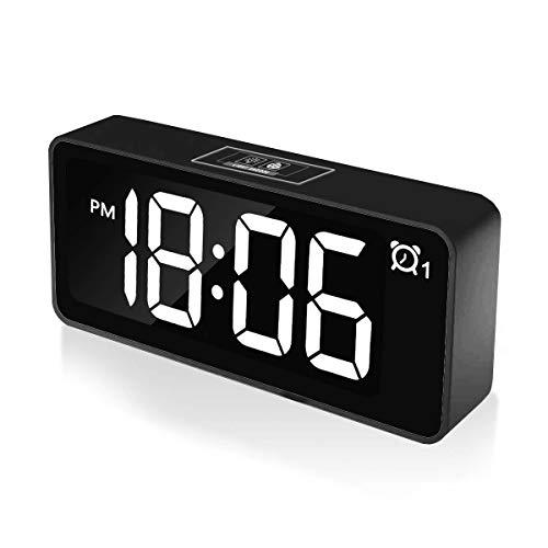 """CHEREEKI Digitaler Wecker, 4.6\"""" LED-Anzeige Uhren mit Dual-Alarm, USB-Ladeanschluss, 12/24 Stunden, Einstellbare Helligkeit, Schlummerfunktion, 25 Musiklied, Backup-Batterie für Schlafzimmer Büro"""