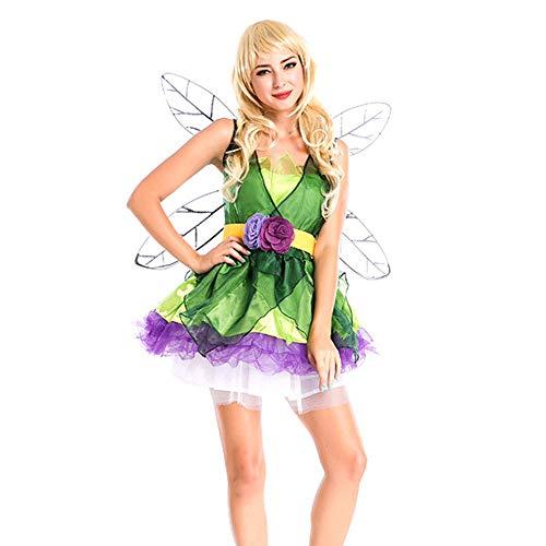 Frauen Flower Kostüm Fairy - GIFT ZHIZHUXIA Frauen Mädchen Foreset Grüne Elf Flower Fairy Princess Costume With Wing Adult Weihnachtsfeier Kleid Requisiten (Farbe : Photo Color, größe : One size)