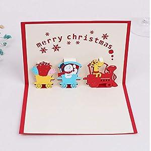 BC Worldwide Ltd handgemachte 3D-Pop-up-Karte Frohe Weihnachten Vintage Dampfzug Geschenk Lieferung lustige Schneemann Rentier Schneeflocken Geschenk Liebe Kind Kinder Freundschaft