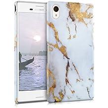 kwmobile Funda dura para Sony Xperia M4 Aqua - Hard Case de plástico para móvil - Cover duro Diseño mármol en blanco oro
