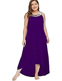 dfbf805698cb Donna Vestiti Lunghi Eleganti Estivi Taglie Forti Abito Casual Senza Maniche  Asimmetrici Vestito da Cerimonia con