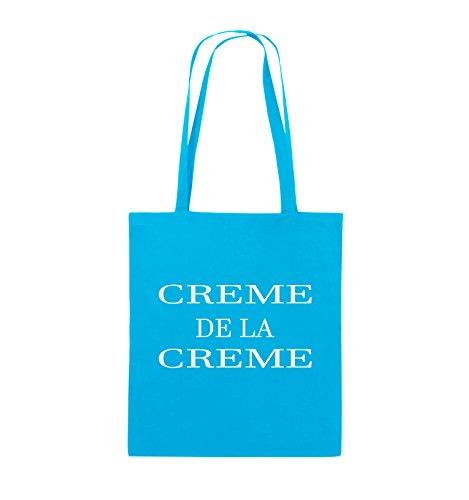 Comedy Bags - CREME DE LA CREME - Jutebeutel - lange Henkel - 38x42cm - Farbe: Schwarz / Pink Hellblau / Weiss