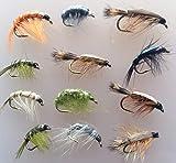 Angeln Fliegen Garnelen und kriechen Nymphs Zwölf Pack Größe 8-12UK Qualität gebunden Fliegen...