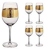 Set di 4 calici da vino in stile Art Deco con foglia dorata incisa