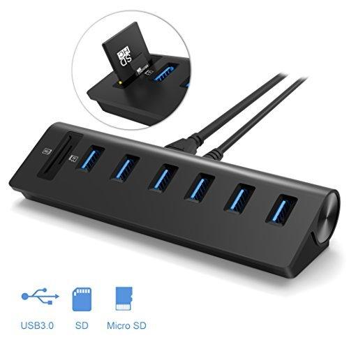 USB 3.0 Hub, Alcey USB 3.0 6 Port USB Hub mit einem Zweifachkartenlesegerät und einem leistungsfähigen 5V/4A Netzteil, Schwarz