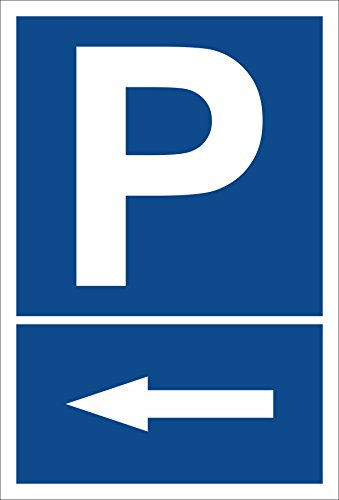 Schild - Pfeil nach links - Parkplatzschild Parken - 15x20cm, 30x20cm und 45x30cm - Bohrlöcher Aufkleber Hartschaum Aluverbund -S00272