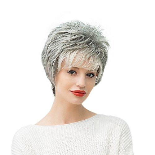 Anself 11 '' Echte Echthaar Damenperücke Shaggy Graue Kurz Gerade Haarteil Perücke, hitzebeständig, leicht gewelltem Haar -