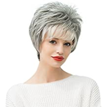 "Anself 11 ""real Cabello humano pelucas de mujer corto recto peluca de pelo resistente al calor gris hembra"