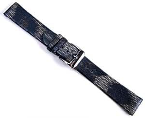 Boa Replacement Band Watch Band Leather Kalf blue in Snake Print 20947S, width:20mm