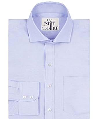 Stiff Collar Cotton Shirt Blue Oxford 39