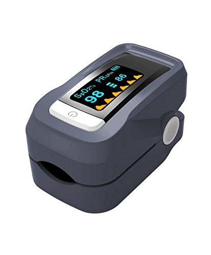 Oximeter Pulsoximeter, OXOQO Fingerpulsoximeter Finger Fingerspitze Blut Sauerstoff Sättigungsstufen Herzfrequenz SpO2 Monitor mit OLED Display (Grau)
