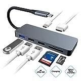 Hub USB C, 7 en 1 Type C a HDMI Concentrador Lector de Tarjeta SD/TF Adaptador PD Port, Tipo C Hub para MacBook/MacBook Pro, Samsung S8 (Gris)