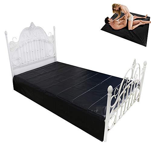 Erotik Bettlaken für Paare Bettwäsche Leder Sex-Spielzeug Wasserdicht (Schwarz),Black2.2M*2M
