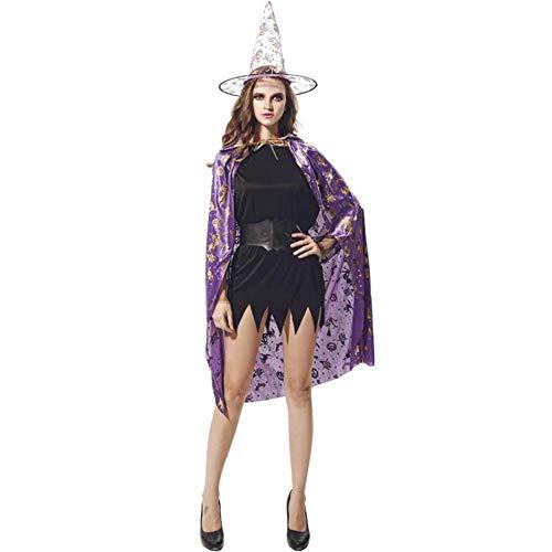 (BHXUD Halloween-Kostüm Erwachsene Kürbis-Mantel Show Ball Kürbis Cape Hat,Purple)
