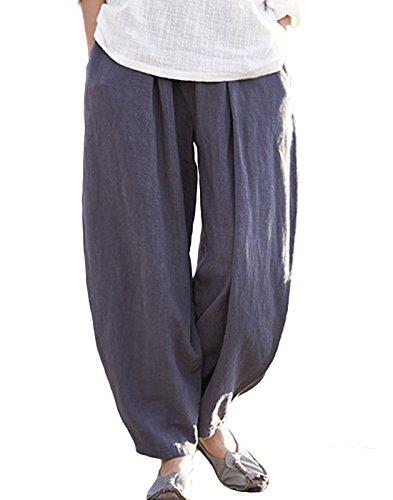 Happy Cherry Damen Pumphose Leinenhose Vintage Loose Elastisch Taille Hosen Freizeit Atmungsaktiv Wide-Leg Haremshosen Yogahose mit Taschen (Hose Wide-leg Leinen)
