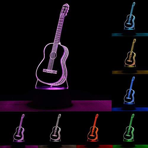 Galaxer 3D Licht Nachtlicht Tischleuchte 3 AA Batterien oder USB-Kabel Powered Schöne Dinosaurier Bild Acryl Material Panel ABS Basis für Tischdekoration und Nacht Dekoration (Gitarre)