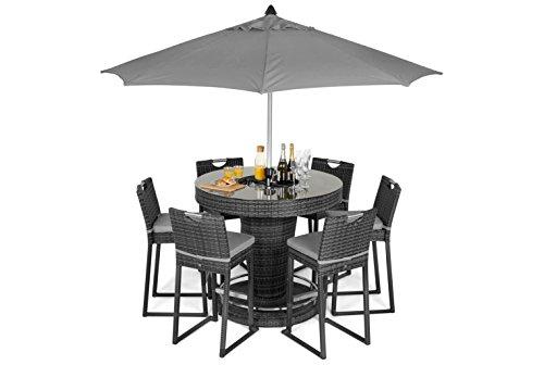 Maze Rattan fla-167525rund 6Sitz Bar Set mit Luxus Rundum Ice Bucket in einem Geflecht–MIXED grau (Aluminium-patio-möbel-kissen)