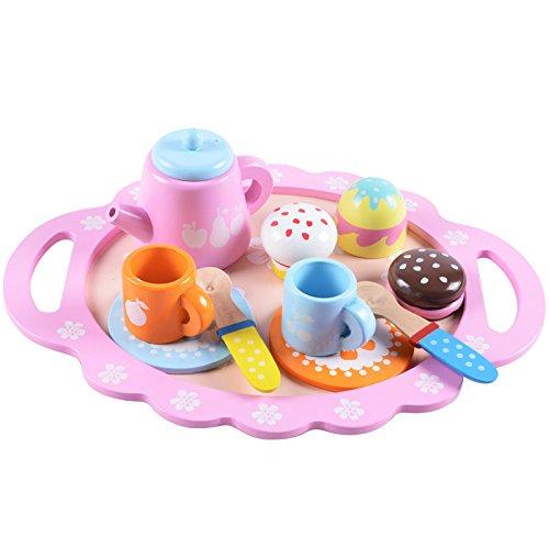 (B&Julian Teeservice Set Kaffeeserviece Kaffeeset mit Kuchen Leckereien aus Holz für Kinder als Rollenspiele)