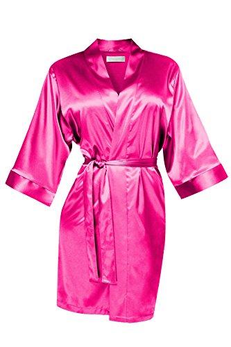 Damen Morgenmantel Kimono Nachtwäsche Satin kurz pink