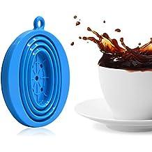 jss silicona plegable café filtro Cono, cafetera de émbolo de alimentos, perfecto para exteriores y libre de viaje con mosquetón talla única BlueA