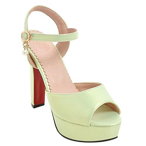 MissSaSa Femmes Sandales Chaussures Plateforme Bride Cheville verte clair