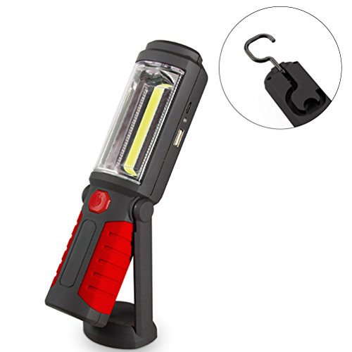 Arbeitsleuchte NuoYo Cob LED Taschenlampe Portable Freisprechlösung COB LED Magnet Notfall Arbeitsleuchten LED Arbeitslampe 650 Lumen 3W Power USB-Ladekabel Inklusive Batterie (Rot)
