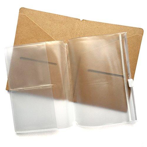 Kraft Datei Ordner + Reißverschluss Tasche Nachfüllpack für Passport Reisende Notebook 12,7x 9,3cm–Braun Karte + PVC klar Pocket Einsatz für Pocket Leder - Papier-münzen-beutel