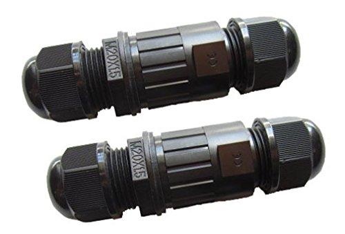 COOLWEST 2er-Pack Wasserdichter Kabelverbinder Außen IP68 Wasserdichter Unterwasser Verbindungsbox Kabelverbindungsmuffe Koppler, 7-10mm für Erdkabel